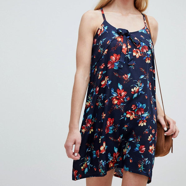 Brave Soul Primrose Print Cami Dress - Navy