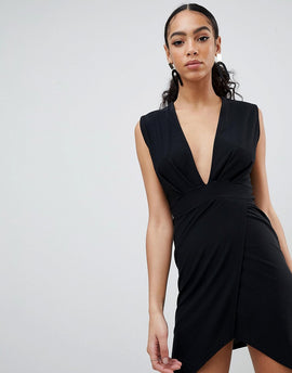 PrettyLittleThing Plunge Wrap Dress - Black