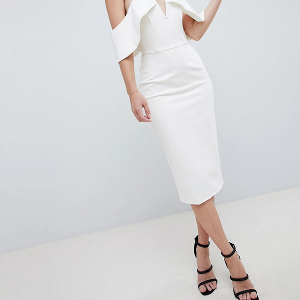 Lavish Alice Plunge Front Bandeau Midi Dress - White