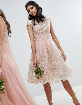 Chi Chi London Premium Lace Midi Prom Dress with Bardot Neck - Vintage rose/gold