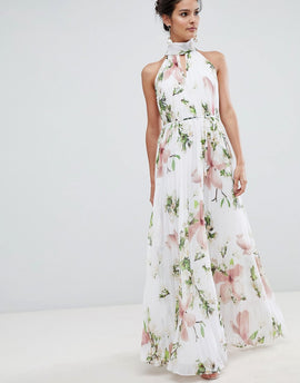 Ted Baker pleated maxi dress in harmony floral print - White