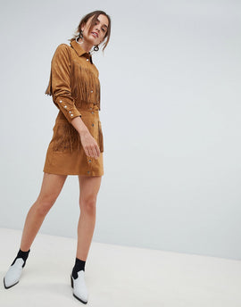 Mango fringe faux suede skirt in brown - Brown