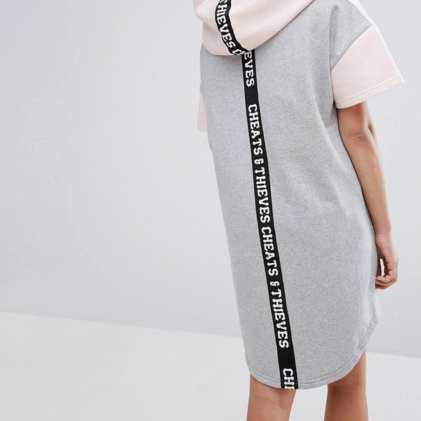 Cheats & Thieves Colourblock Hooded Sweater Dress - Grey/pink