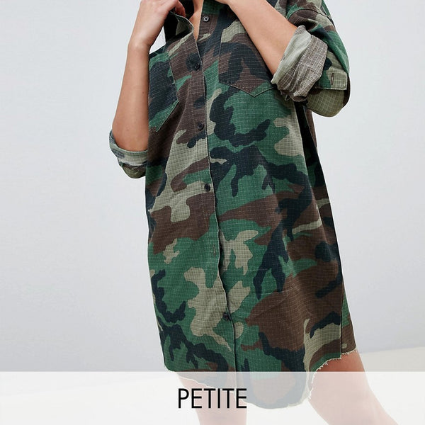 Missguided Petite Camo Shirt Dress - Green