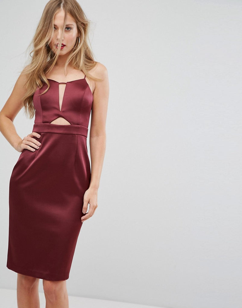 Forever New Structured Midi Dress in Satin with Cut Out - Burgundy