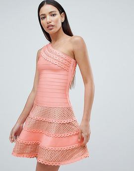 Forever Unique Structured One Shoulder Skater Dress With Lace Inserts - Peach
