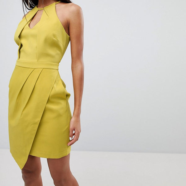 Adelyn Rae Tami Asymmetrical Sheath Dress - Chartreuse