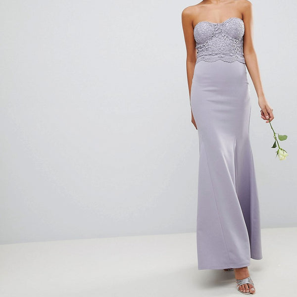 Club L Crochet Scalloped Bandeau Fishtail Maxi Dress - Grey
