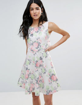 Zibi London Garden Floral Skater Dress - Pink