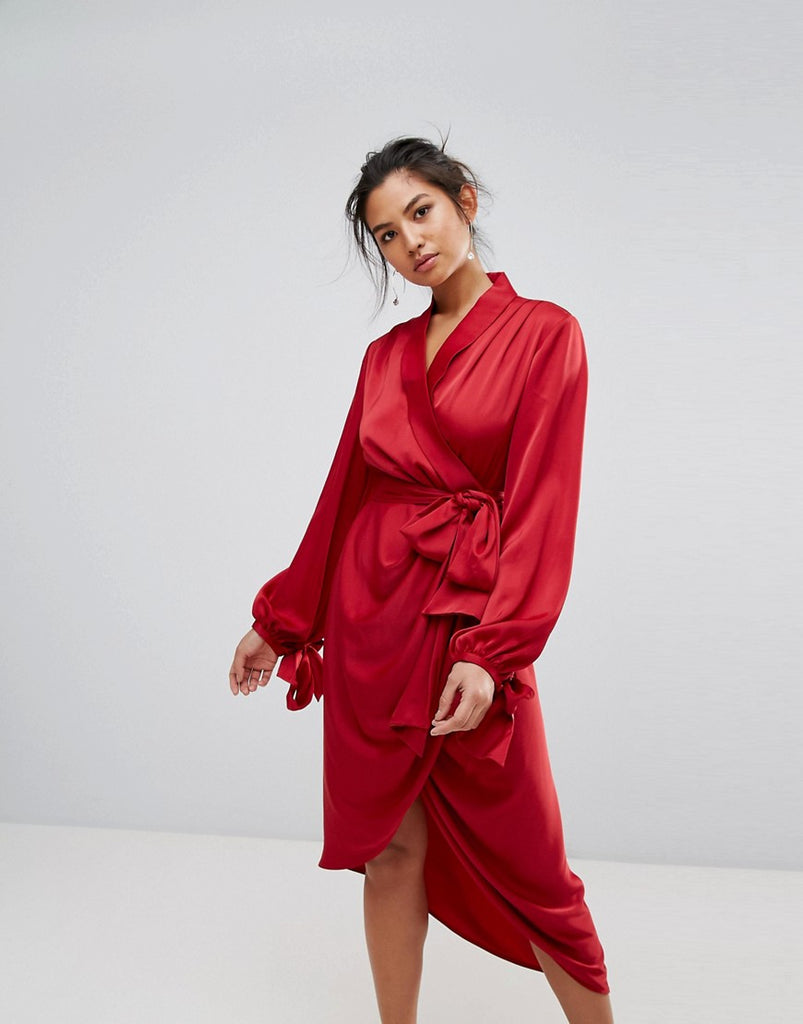 C/Meo Collective Influential Wrap Dress - Crimson