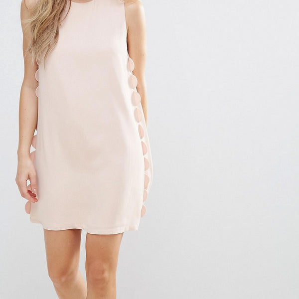 The English Factory Scalloped Shift Dress - Nude pink