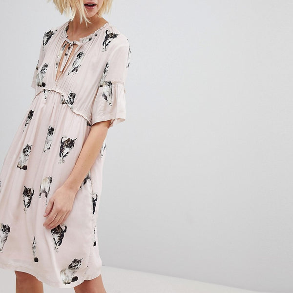 Paul & Joe Sister Cat Print Smock Dress - Light pink