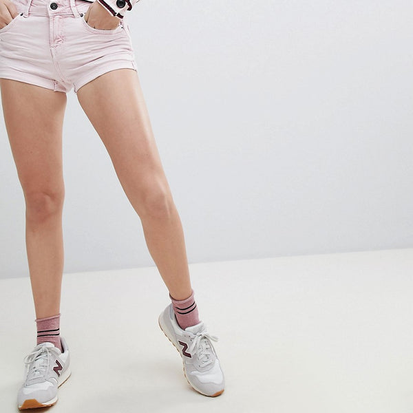 Bershka High Waist Denim Short In Pink - Pink
