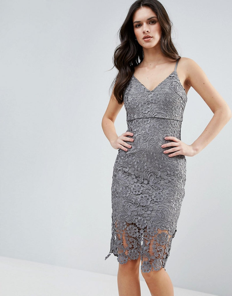 Ax Paris Lace Pencil Dress - Grey