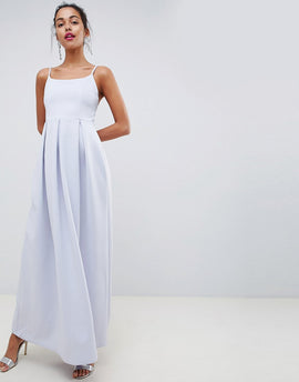 ASOS DESIGN scuba scoop neck maxi prom dress - Ice blue