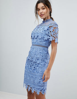 Chi Chi London lace high neck mini dress in cornflower blue - Perry blue