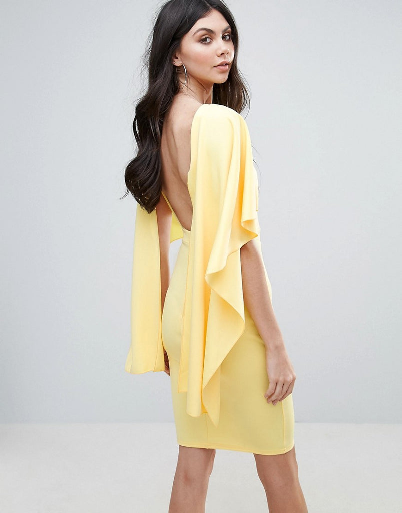 City Goddess Midi Dress With Ruffle Sleeve - Pale lemon (54)