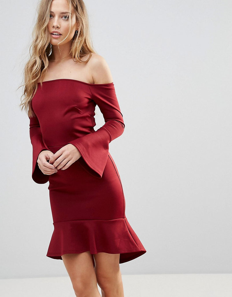 Oh My Love Off Shoulder Flute Sleeve Mini Dress - Wine scuba