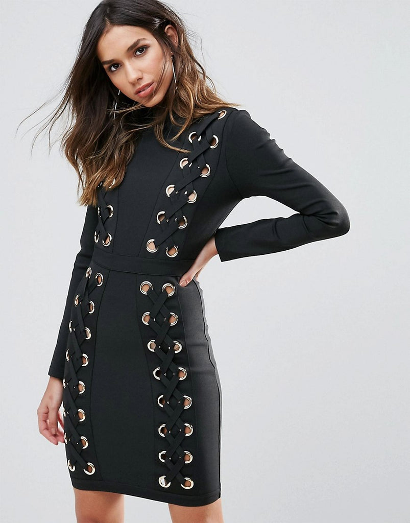 WOW Couture Oversized Laceup Detail Mini Bandage Bodycon Dress - Black