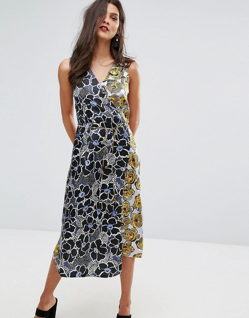 Warehouse Mixed Woodblock Silk Dress - Multi