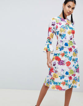ASOS DESIGN fluted sleeve midi dress in summer floral print - Multi