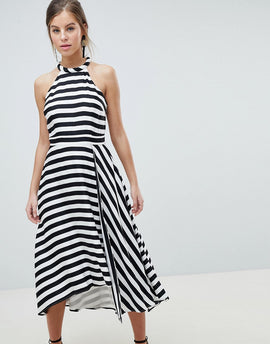 Coast Dillon Stripe Soft Cotton Dress - Mono