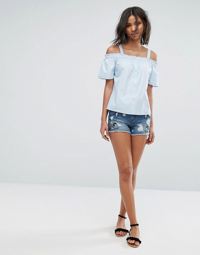 Only Embroidered Denim Shorts - Dark blue denim