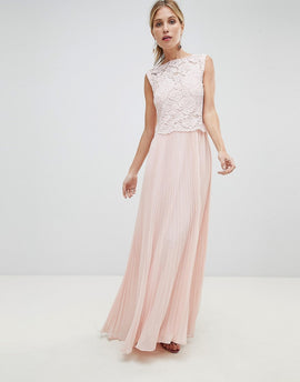 Oasis Occasion Lace Bodice Pleated Maxi Dress - Blush
