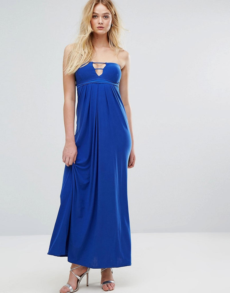 City Goddess Bandeau Maxi Dress With Cut Out Detail - Royal blue
