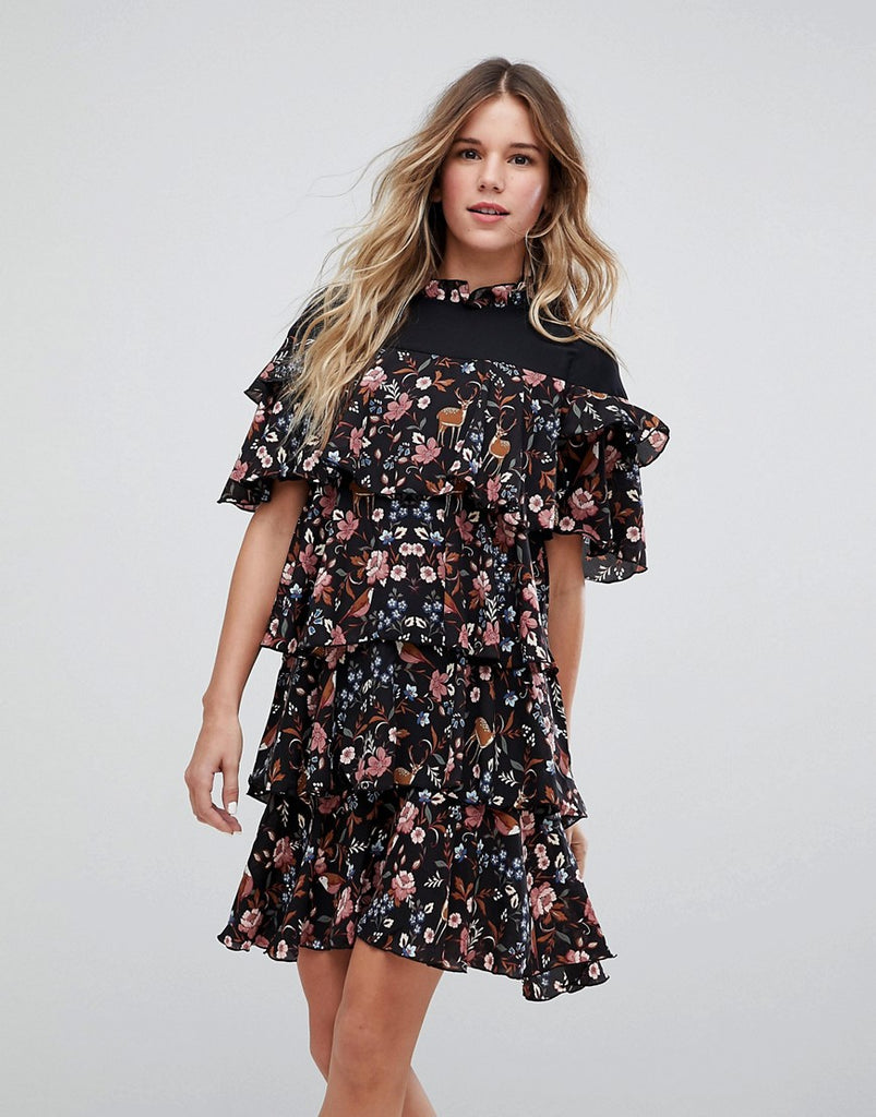 Vero Moda Ruffle Floral Print Dress - Multi