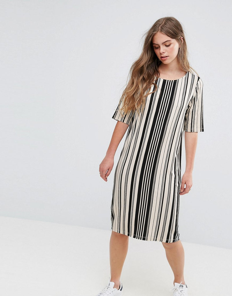 Pieces Damara Print Jersey Dress - Multi stripe