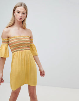 Brave Soul Sunny Bardot Dress with Multi-Colour Shirring - Yellow