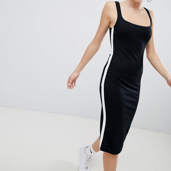 Bershka jersey midi dress in black - Black