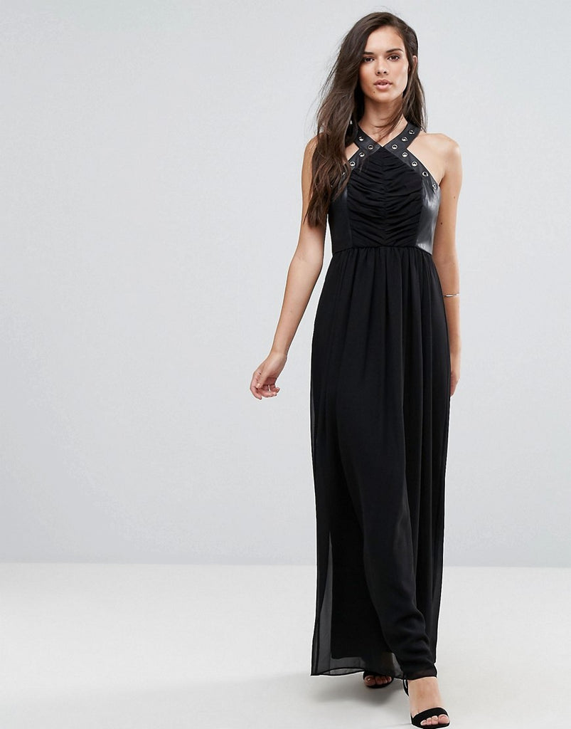 BCBG Faux Leather Eyelet Cross Strap Maxi Dress - Black 001