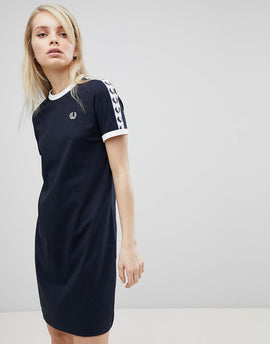 Fred Perry Logo Tape Ringer T-Shirt Dress - 608 navy