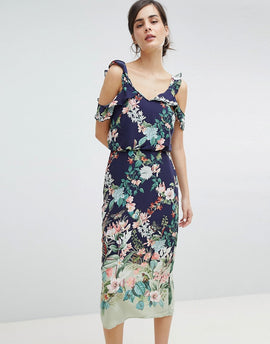 Oasis Fitzwilliam Cold Shoulder Floral Print Midi Dress - Multi blue