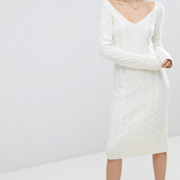 J.O.A Jumper Dress In Cable Knit - Ivory