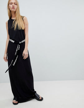 Dr Denim Maxi Jersey Dress with Logo Belt - Black