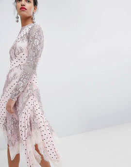 Keepsake Lace and Spot Midi Dress - Blush