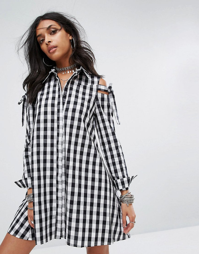 Glamorous Cold Shoulder Shirt Dress In Gingham - Black