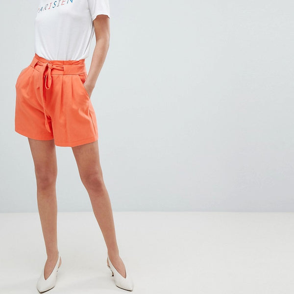 Oasis Belted Tailored Shorts - Red orange