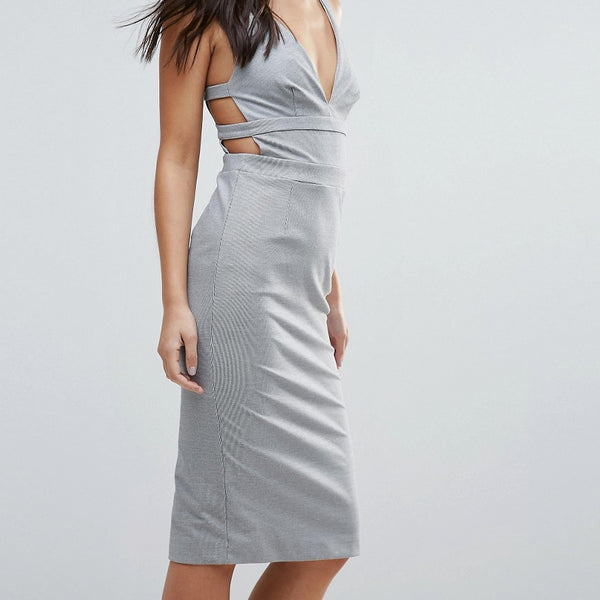 Talulah Walk On By Strappy Back Bodycon Dress - Gray-white