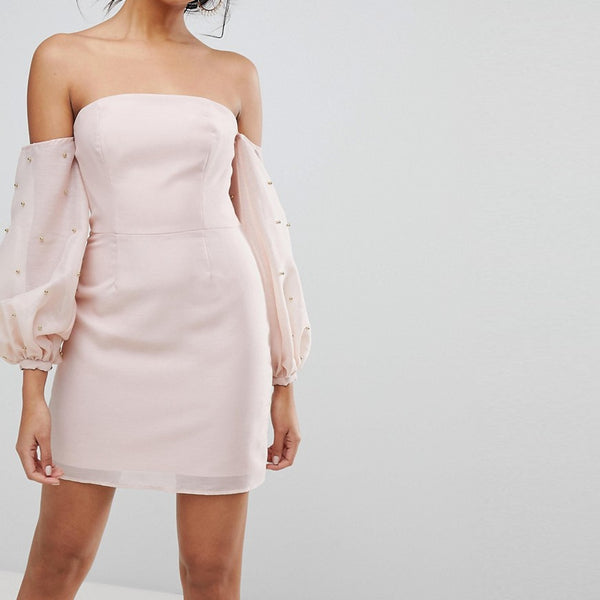 Keepsake Bardot Beaded Mini Dress - Blush