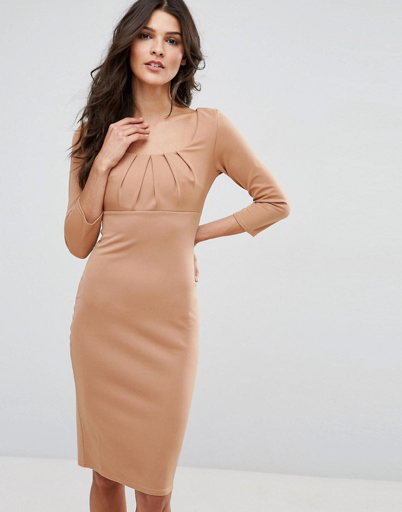 City Goddess 3/4 Sleeve Pencil Dress - Tan