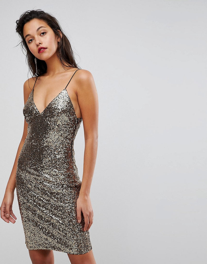 Club L Cami Strap All Over Sequin Dress - Gold