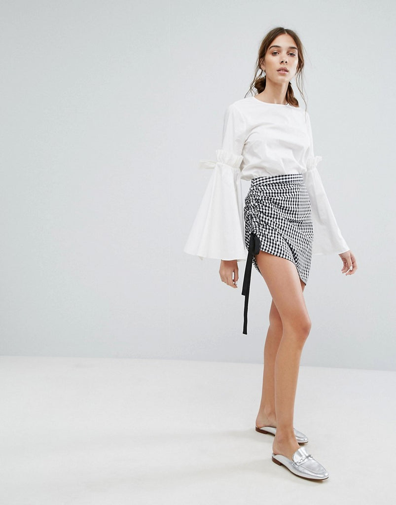 Neon Rose Skirt In Gingham With Ruched Tie Side - Black