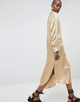 ASOS WHITE Oversized Satin Western Dress - Stone