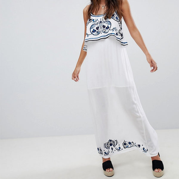Raga Mediterranean Embroidered Maxi Dress - 59 blue/white
