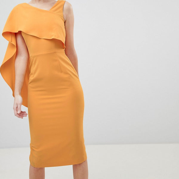 Lavish Alice Midi Dress with Drape One Shoulder - Tangerine