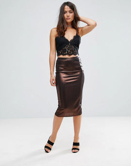 Glamorous Metallic Pencil Skirt - Bronze metallic
